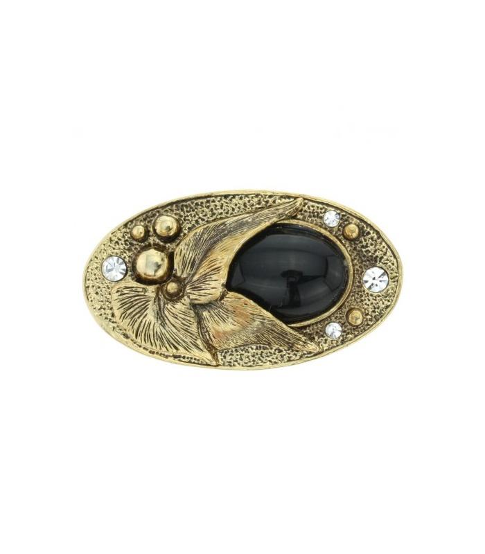 ... broche in antiek goudkleurig met strass stenen en zwarte acryl steen