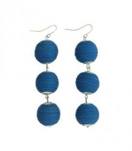 Blauwe oorbellen met 3 ballen