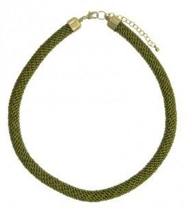 Kaki groene korte halsketting van kleine kraaltjes