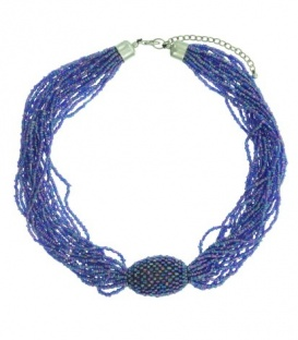 Mooie paarse kraaltjes halsketting van 20 strengen en een kraal midden in