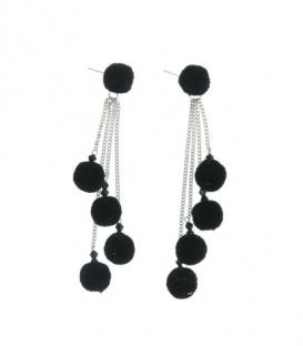 Zwarte oorbellen van metaal met 4 sliertjes en 5 pompoms