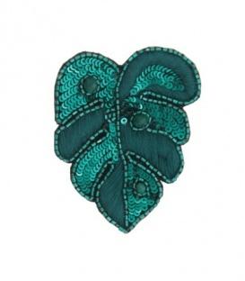 Mooie groene broche in blad vorm met pailletjes