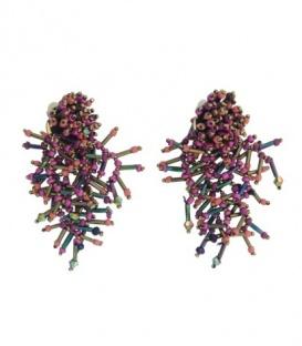 Roze paars gekleurde oorclips met kralen