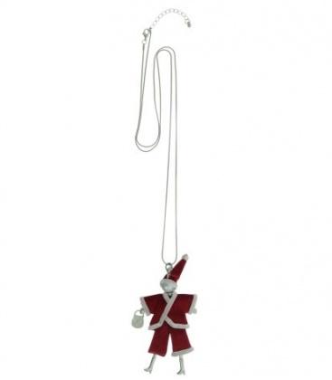Rode lange halsketting met als hanger een kerstman