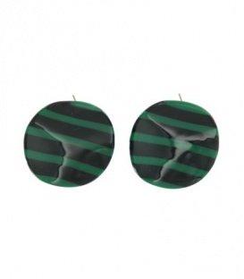 Groene oorbellen met zwarte strepen