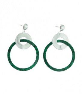 Groene oorbellen met 2 ringen