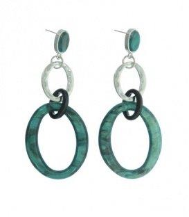 Petrol gekleurde oorbellen met 2 ovale ringen