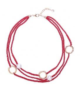 Rode kralen halsketting met parels en iriserende kralen