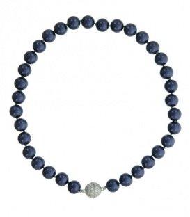 Petrol blauwe parel halsketting met magneet sluiting