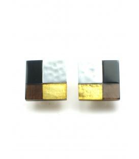 Vierkante mooie oorclips met zilverkleurige accenten