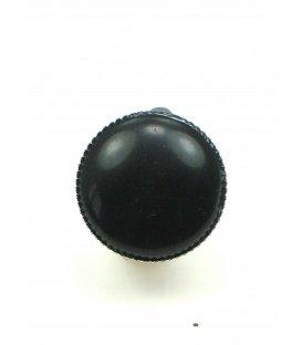 Ronde oorclips met natuursteen (zwart agaat)