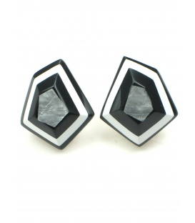 Mooie zwart, wit en zilverkleurige parelmoer oorclips