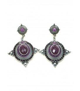 Mooie zilverkleurige oorbellen met paarse strass steentjes en inleg
