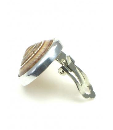 Ronde oorclips met slakkenhuis inleg