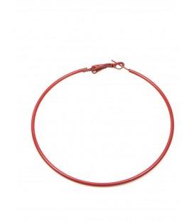 Rode oorringen (creolen). Diameter van de oorring is 7 cm.