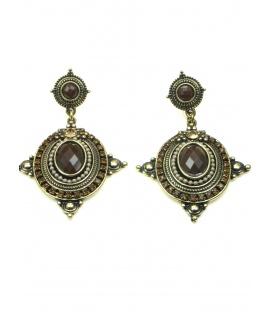 Mooie bronskleurige oorbellen met bruine strass steentjes en inleg