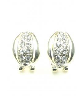 Zilverkleurige oorbellen met heldere strass steentjes