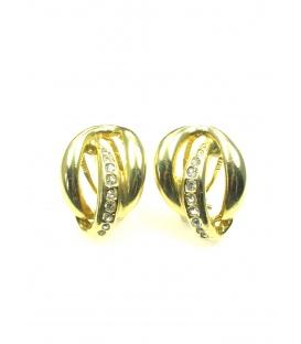 Goudkleurige oorclips met strass steentjes