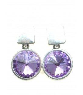 Metalen oorbellen met paarse grote strass steen