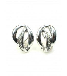 Zilverkleurige oorclips met strass steentjes