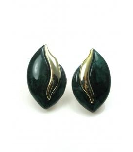 Donker groene oorclips met goudkleurig accent