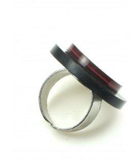 Mooie ronde ring met fuchsia roze inleg