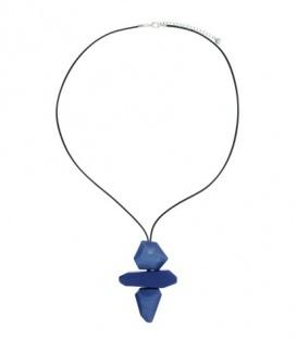 Kobalt blauwe lange koord halsketting met 3-delige hanger