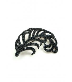 Mooie zwart broche in bladvorm met zwarte strass