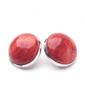Oorclips met rode inleg (natuurlijk jaspis)