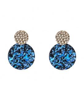 Oorbellen met blauwe ronde glitter hanger