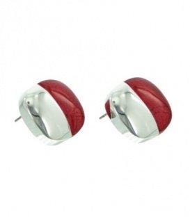 A-zone vierkante oorbellen met zilverkleur en rode inleg