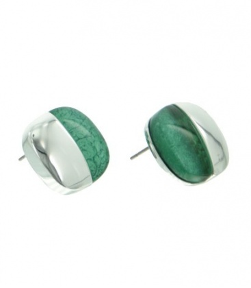 A-zone vierkante oorbellen met zilverkleur en groene inleg