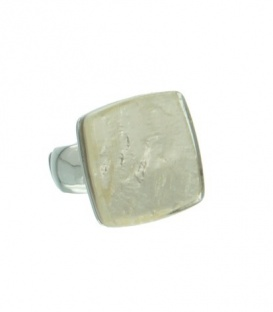 Witte flexibele ring van metaal met vierhoekige steen