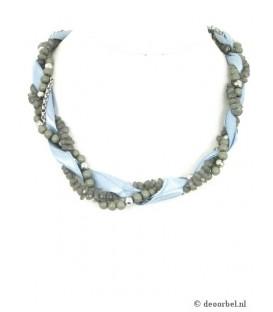 Mooie grijze kralen halsketting met lint