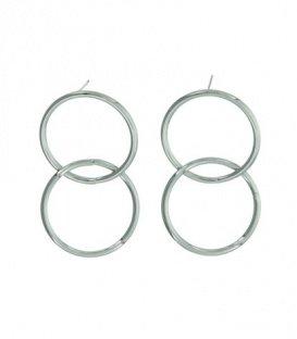 Zilverkleurige oorbellen met 2 ronde schakels