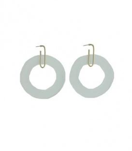Goudkleurige oorbellen met een doorzichtige ronde ring