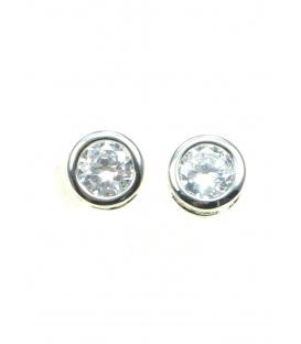 Mooie zilverkleurige oorbellen met heldere strass steen (knopje)