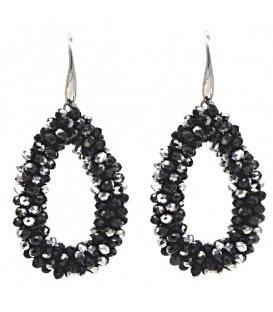 Zwart met zilverkleurige ovale kraaltjes oorbellen