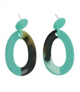 Turequoise oorbellen met ovale hanger