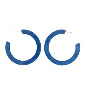 Blauwe ronde oorbellen (creool)