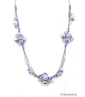 Mooie paarse kralenhalsketing