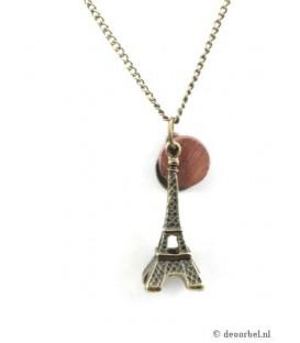 Bronskleurige halsketting met eiffel toren als hanger