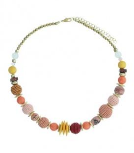 Geel gekleurde korte halsketting met diverse kralen