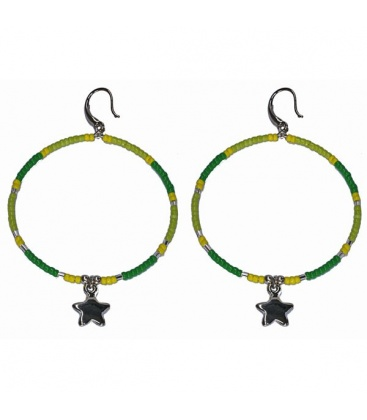 Groene kralen oorbellen met ster