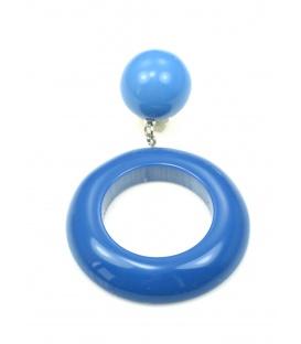 Blauwe oorclips met ronde hanger. Lengte van de clip oorbel is 7 cm.