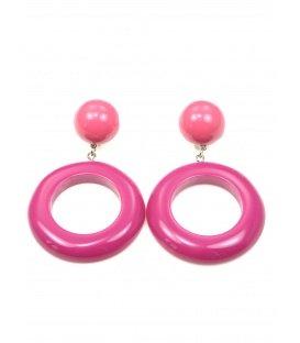Roze oorclips met ronde hanger