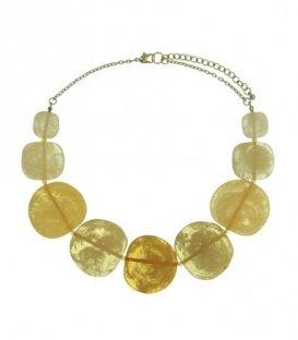Gele korte halsketting met transparante kralen