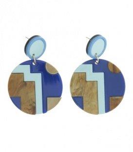 Blauw gekleurde oorbellen met ronde hanger en mooie print