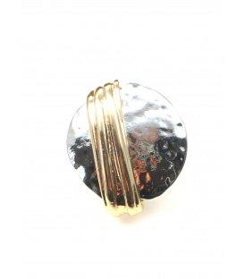 Ronde metalen oorclips met goudkleurige band