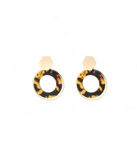 Bruine oorbellen in bijzondere vormen met luipaardprint